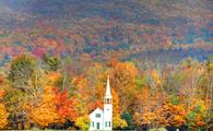 Quintessential fall New England in the small town of Wonalancet, New Hampshire. Photo taken of the vivid colors during the peak fall foliage season. New Hampshire is one of New England