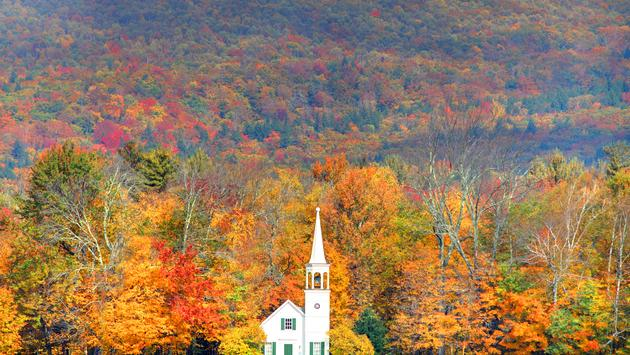 Quintessential fall New England in the small town of Wonalancet, New Hampshire. Photo taken of the vivid colors during the peak fall foliage season. New Hampshire is one of New England's most popular fall foliage destinations bringing out some of the best