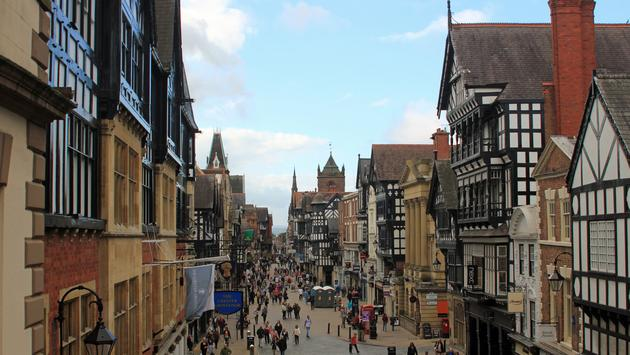 View of Chester City Centre showing the Tudor buildings and quaint main shopping street (Photo via BellPhotography423 / iStock / Getty Images Plus)
