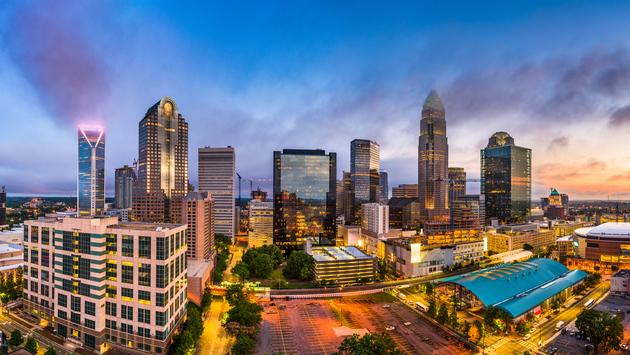 Charlotte, North Carolina, USA uptown skyline panorama. (SeanPavonePhoto / iStock / Getty Images Plus)