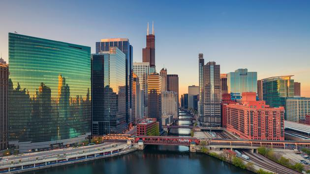 Chicago at dawn.  (photo via RudyBalasko/iStock/Getty Images Plus)