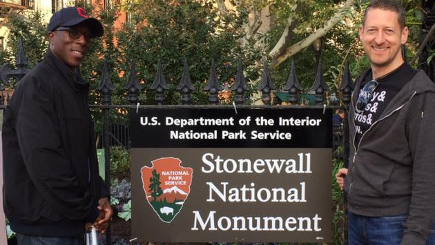 Paul Heney (right) visits Stonewall National Monument, New York City