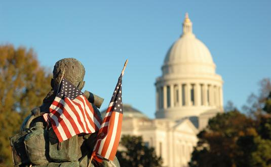 View of the Arkansas state capital from the Vietnam Veterans Memorial.