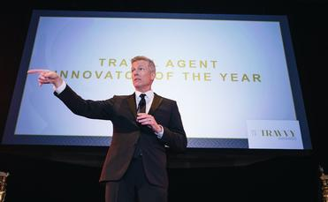Mark Murphy hosting the 2018 Travvy Awards