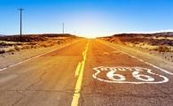 Iconic Route 66 sign in American desert land