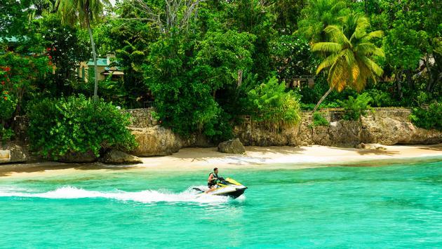 Jet ski rider in Barbados