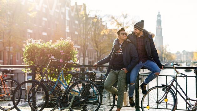 A couple enjoying Amsterdam, Netherlands