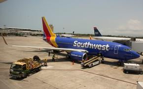 A Southwest Airlines Boeing 737 on the tarmac in Puerto Vallarta, Mexico