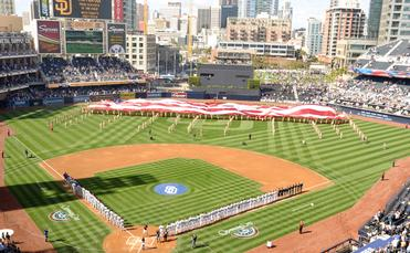 A National Anthem ceremony at Petco Park, home of the San Diego Padres