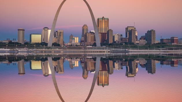 Sunrise reflection of the St Louis skyline