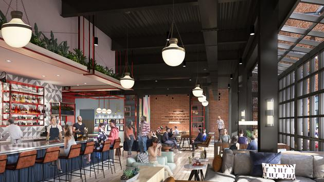 Rendering of the Talk Shop Bar and Lounge at Caption by Hyatt Memphis.