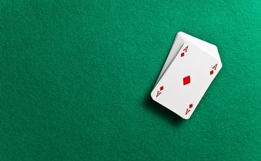 Playing cards on a casino poker table