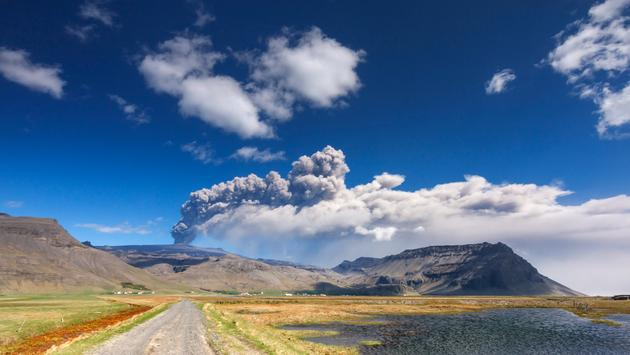 The Eyjafjallajökull volcano eruption of April 2010.