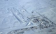 Snowy conditions at Denver International Airport