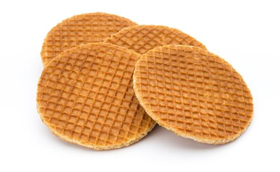 Stroopwaffels consist of caramel placed between two wafer cookies.