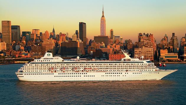 Crystal Symphony sailing out of New York City.