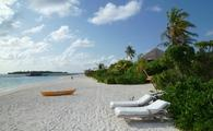 The beach at a SIx Senses Resort in Laamu, Maldives