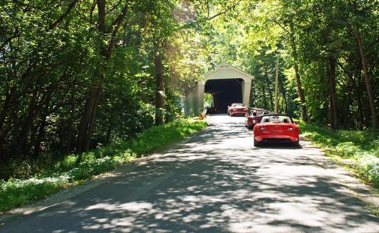 Road trip through a covered bridge in Ohio