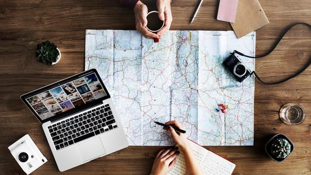 Travel planning with map and computer
