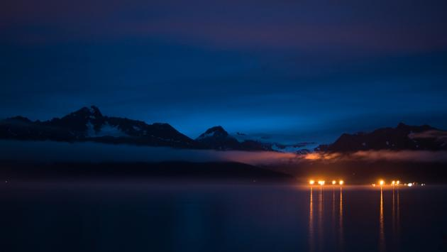 A serene evening star gazing in Alaska.