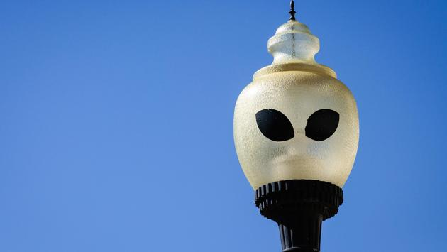 A street lamp in Roswell, New Mexico