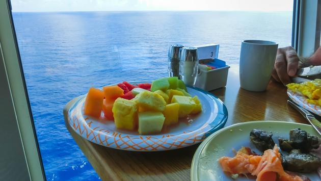 buffet, food, cruise ship, cruise ship window, ocean