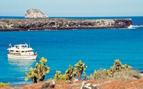 A tourist boat in the Galapagos Islands