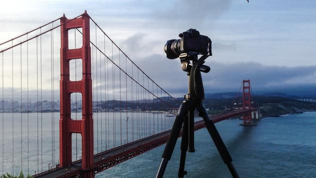 Photographing the Golden Gate Bridge in San Francisco, California.