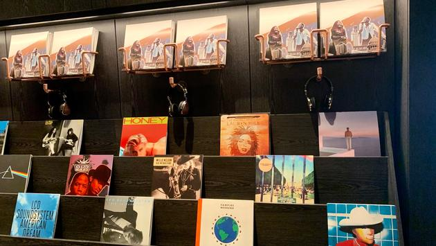 Collection of vinyl records in hotel lobby