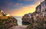 Polignano a Mare village at sunrise, Bari, Apulia, Italy.
