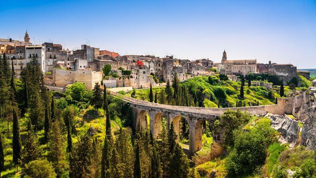 Gravina in Puglia ancient town, bridge and canyon. Apulia, Italy, Province of Bari
