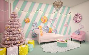 Rendering of the Candy Lounge in Booking.com's London Candy Cane House.