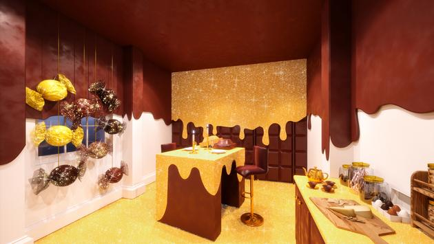 Rendering of the Coco-Kitchen in Booking.com's London Candy Cane House.