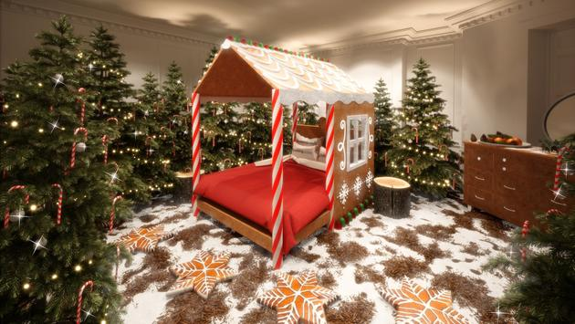 Rendering of the master Ginger-Breadroom in Booking.com's London Candy Cane House.