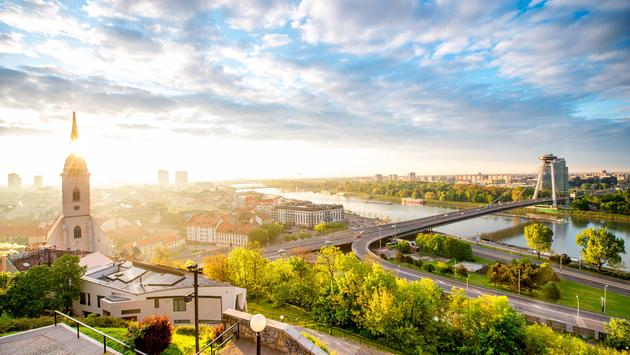 Morning view on Bratislava city