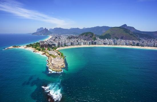 Aerial view of Copacabana beach and Ipanema beach