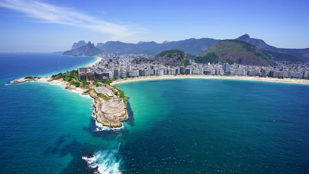 Aerial view of Copacabana beach and Ipanema beach