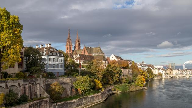 Rhine river and Basel Minster