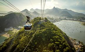 Cable car going to Sugarloaf mountain in Rio de Janeiro, Brazil