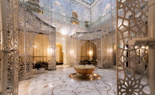 Inside a Hamman, or a local bathhouse, in Marrakech, Morocco