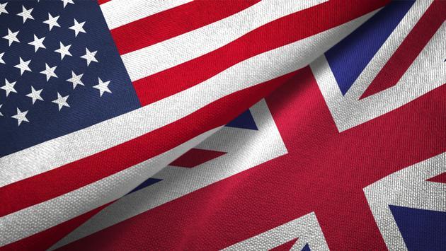 United Kingdom and United States flags.