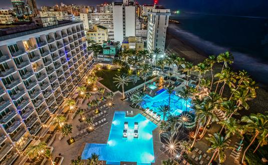 San Juan Marriott Resort & Stellaris Casino, night, puerto rico, hotel