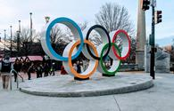 Olympic Rings welcoming you to the Centennial Olympic Park District in Atlanta, GA