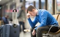 Frustrated traveler at the airport