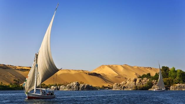 The Nile River passing through Aswan, Egypt