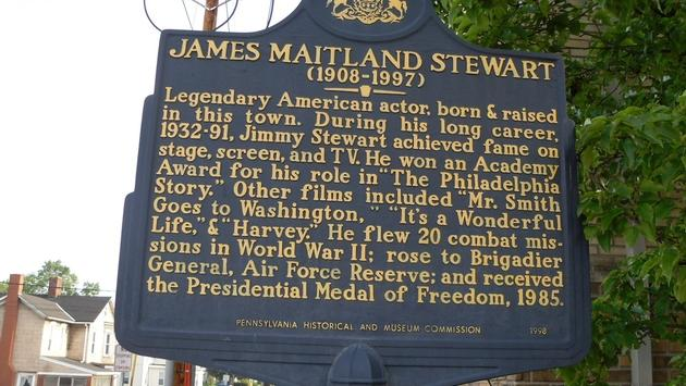 Commemorative plaque in Jimmy Stewart's bucolic hometown of Indiana, Pennslyvania