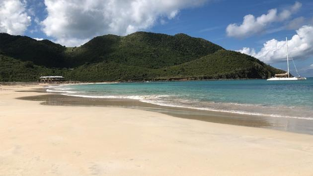 The beach area at Secrets St. Martin