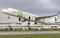 An Azores Airlines A321neo on takeoff.