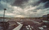 Airport on a stormy day