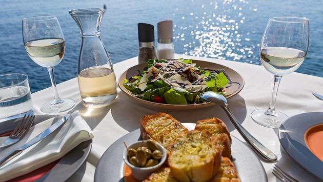 Restaurant table overlooking the sea